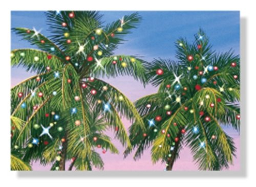 Christmas Cards - Box Set 18 Cards and 18 Envelopes - Decorated Palm Trees with Holiday Lights