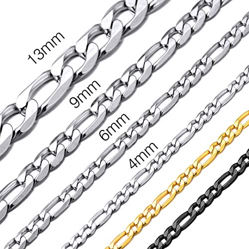 ChainsHouse Men&Teens Boys Stainless Steel Chain Hip Hop Style Jewelry 6mm Wide Figaro Link Necklace, Wear Alone or with Pedant, 22 Inch ()