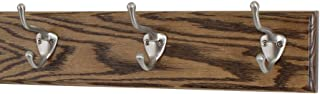 """product image for PegandRail Oak Coat Rack with Satin Nickel Hat and Coat Style Hooks (Walnut, 15"""" x 3.5"""" with 3 Hooks)"""
