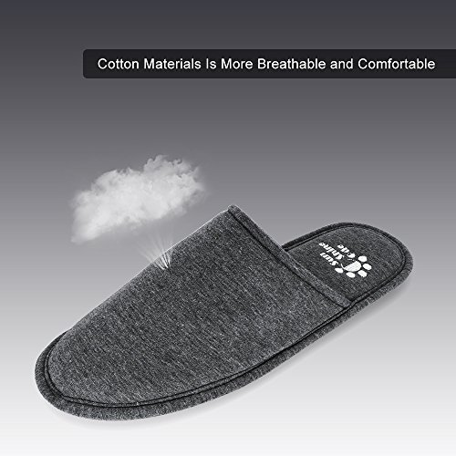 Men's 4 Seasons Cotton Washable Slippers with Matching Travel Bag for Home Hotel Spa Bedroom