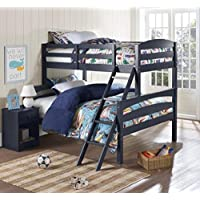 LEIGHTON TWIN-OVER-FULL BUNK BED, Multiple Colors by Better Homes and Gardens (Graphite Blue)