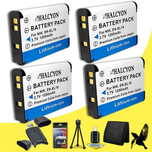 Four Halcyon 1200 mAH Lithium Ion Replacement Nikon EN-EL19 Battery + Memory Card Wallet + SDHC Card USB Reader + Deluxe Starter Kit for Nikon CoolPix S4100 14 MP Digital Camera and Nikon EN-EL19 by Halcyon