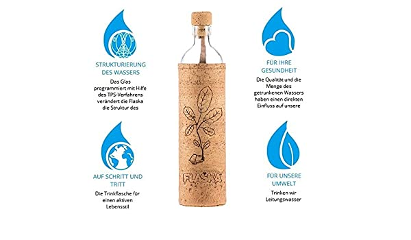 flaska Botella Natural Cork New Beginning - Botella de agua botella de cristal + 2 corcho: Amazon.es: Deportes y aire libre