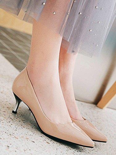 Escarpins À Bout Pointu Pour Femme Aisun - Escarpins Sexy À Taille Basse - Chaussures De Bureau - Slip Sur Talon Chaton Nude Bruni