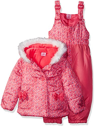 U.S. Polo Assn. Toddler Girls' Floral Print Double Breasted Puffer Jacket and Snow Pant
