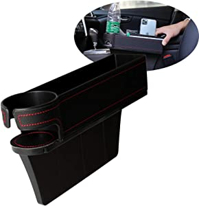 N / A Maodaner Universal Car Seat Gap Filler Premium PU Leather Seat Console Side Pocket, Car Pocket, Seat Crevice Storage Box for CellPhones Wallet Coin Key with Cup Holder (Driving Seat-Left Side)
