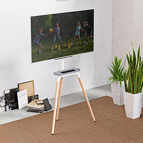 Artistic Easel Tripod TV Floor Stand for 45 to 65 Inch LED LCD Screen, PUTORSEN Portable Studio TV Display Stand, Adjustable TV Studio Mount with VESA 600x400mm, Holds up to 45kg, White