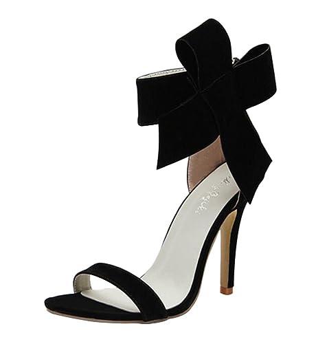 Escarpins Sexy Chaussure Deux Talon Cheville Nœud Moyen Bout Ouvert À Aiguille Femmes Sandales Suédé Wealsex Ete Boucles 76fybg