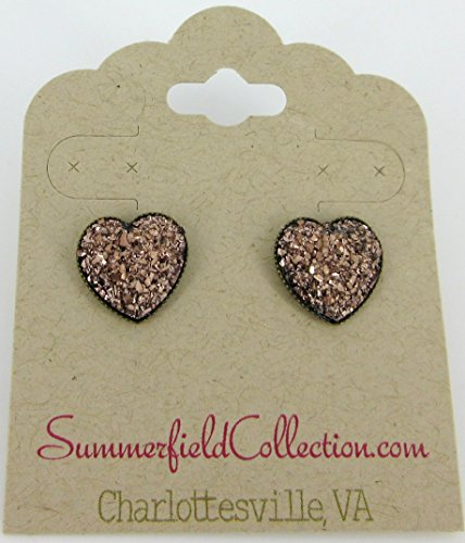Antiqued Gold-tone Metallic Rose Heart Faux Druzy Stone Stud Earrings 12mm