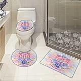 Carl Morris Hamsa bath rug set piece Spiritual Energy Flow Aura Inspired Design Harmony Yoga Meditation Theme Non-slip Soft Absorbent Bath Rug Aqua Pale Pink Peach