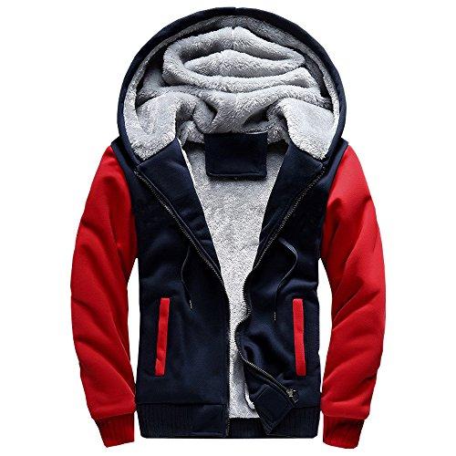 ASALI Men's Pullover Winter Jackets Hooed Fleece Hoodies Sweatshirt Wool Warm Thick Coats Red M#02 by ASALI