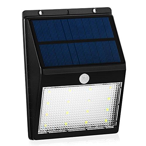 GrandBeing® 16 LED led solar strahler Solarlicht Außenleuchte, Wasserdicht & Bewegungssensor mit An/Ausschalter Wandlichter Solarlichter für Terrasse, Deck, Hof, Garten, nach Hause, Rampe, Stufen außerhalb (der dunklen/hellen) Wand (Schwarz)