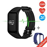 Fitness Tracker Smart Band Continuous Heart Rate Monitor - MGCOOL B3 Activity Tracker Swim Waterproof Bracelet Sleep Monitor - Smart Watch Sport Stopwatch Christmas Gift 2 Straps Black Blue