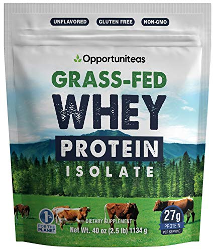 Grass Fed Whey Protein Powder Isolate – Unflavored + Cold Processed + Undenatured – Pure Wisconsin Grass-Fed Protein for Shake, Smoothie, Drink, or Food – Non GMO + No Gluten – 2.5 pounds