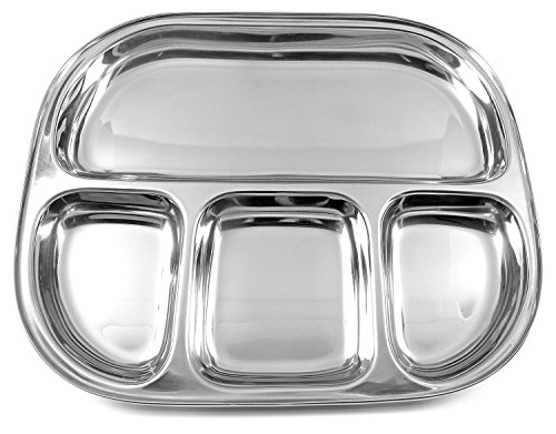 Lifestyle Block Stainless Steel Eco Friendly Compartment Stainless Steel Food Tray Large Divided Camping Plate
