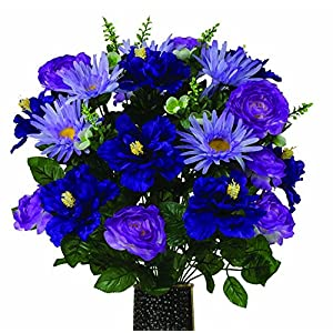 Lavender Daisy with Purple Ranunculus and Peony Artificial Bouquet, featuring the Stay-In-The-Vase Design(c) Flower Holder (MD1671) 12