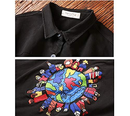 Brod Lache Chemise Vent Lavage Automne Dcontract pour Trench Femmes Imzoeyff Vieux Revers Coupe Patch Taille Grande Manteau Rtro Coat Femme XfAqT48