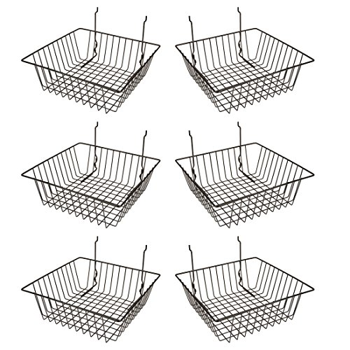 Econoco Multi Fit Black Small Wire Basket for Slatwall, Grid of Pegboard, Commercial All Purpose Basket, (Pack of 6) ()