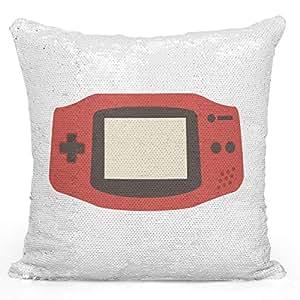 "Sequin Throw Pillow Game Boy Toy ControllerPrinted White Silver Sequin - 16"" x 16"""