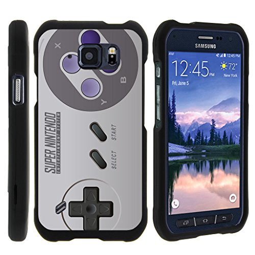 TurtleArmor | Compatible for Samsung Galaxy S6 Active Case | G890 [Slim Duo] Two Piece Hard Cover Slim Snap On Case on Black - Classic Game Controller