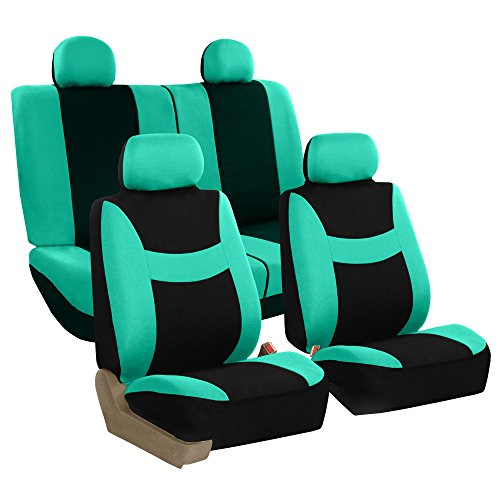FH Group Stylish Cloth Full Set Car Seat Covers (Airbag & Split Ready), Mint/Black Color- Fit Most Car, Truck, Suv, or Van