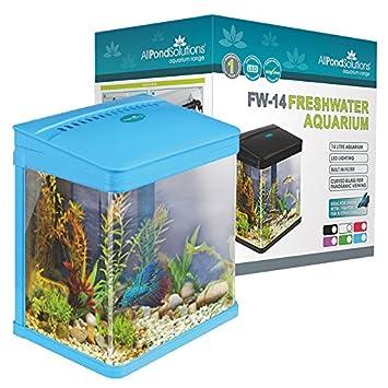 Todos Estanque Soluciones Nano Fish Tank Acuario Luces LED, tamaño pequeño, 14 L, Color Azul: Amazon.es: Productos para mascotas