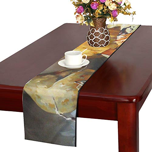 WHIOFE Pumpkin Vegetable Organic Decorative Crop Painting Art Table Runner, Kitchen Dining Table Runner 16 X 72 Inch for Dinner Parties, Events, Decor