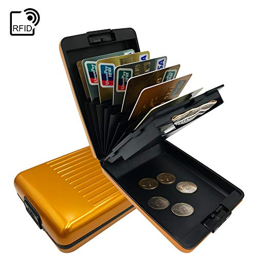 (ANSSOW RFID Blocking Card Holder Case for Men and Women, Safe and Secure Protection for Travel or Business, Includes Slots for Credit Cards, Coins and Cash Slim Aluminum Metal Wallet )