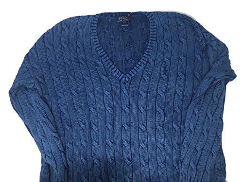 Polo Ralph Lauren Womens Sweater Cable Knit Split Hem V Neck (M, Blue)