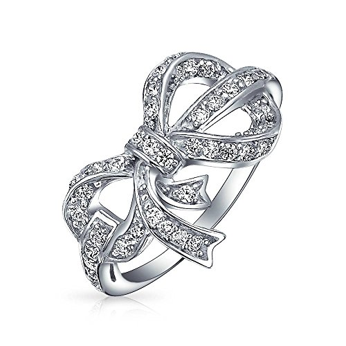 Bling Jewelry Pave Cubic Zirconia 925 Sterling Silver Ribbon Bow Ring