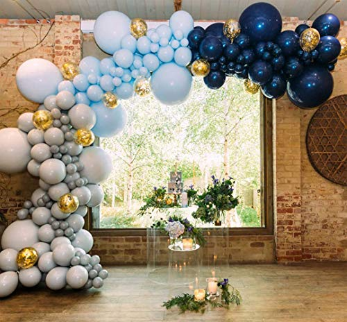 PartyWoo Navy Gray Balloons, 50 Pcs 12 in, Navy Blue Balloons, Gray Balloons, Baby Blue Balloons, Gold Confetti Balloons for Boy Baby Shower Decoration, Boy Birthday Decoration, Navy Party Decoration