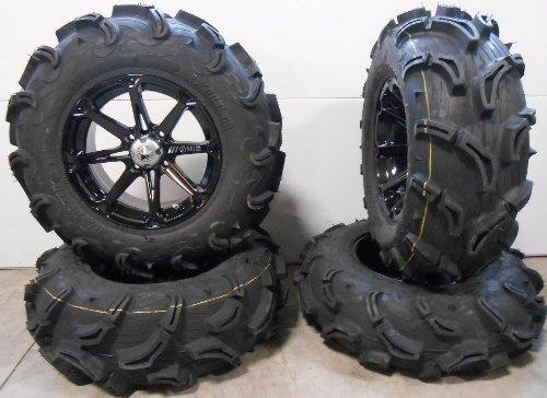 """Bundle - 9 Items: MSA Black Diesel 14"""" ATV Wheels 28"""" Zilla Tires [4x110 Bolt Pattern 10mmx1.25 Lug Kit]"""