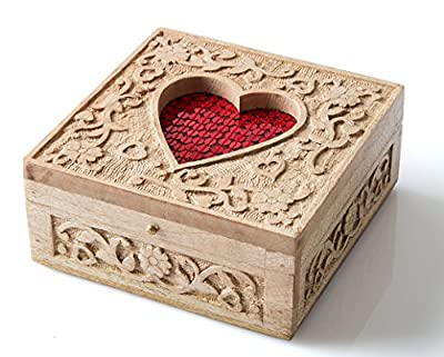 StarZebra Novelty Item Stylish Artisan Handmade Wood Jewelry Box Heart Shaped