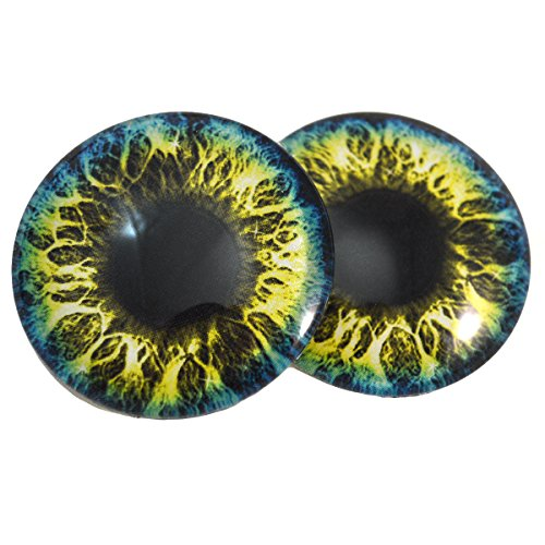 40mm Blue and Yellow Fantasy Glass Eyes Fantasy Cabochons for Art Doll Taxidermy Sculptures or Jewelry Making Set of 2 by Megan's Beaded Designs