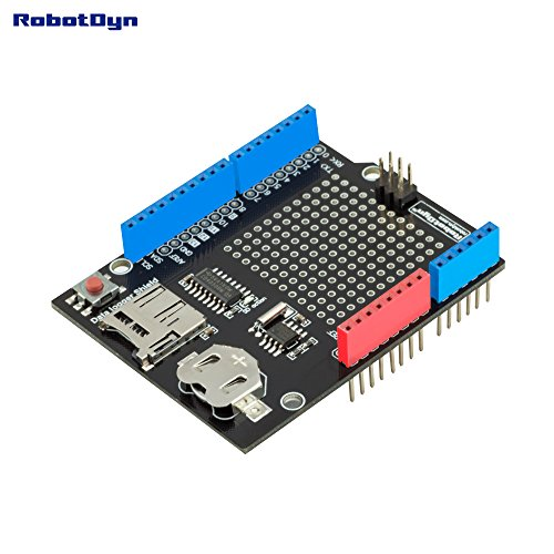 (RobotDyn - Data Logger/Logging Shield Compatible for Arduino, MicroSD-Card + RTC (Assembled) with Battery)