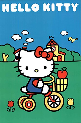 Hello Kitty-Bike Scene, Cartoon Poster Print, 24 by 36-Inch