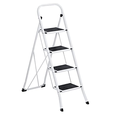 Delxo Folding 4 Step Ladder Ladder With Plastic Cushion Handgrip Anti-Slip Sturdy and Wide  sc 1 st  Amazon.com & Delxo Folding 4 Step Ladder Ladder With Plastic Cushion Handgrip ... islam-shia.org