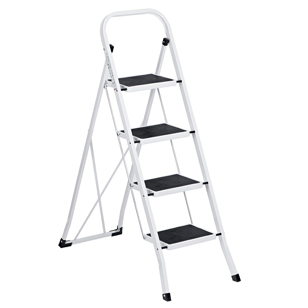 Delxo Folding 4 Step Ladder Ladder With Convenient Handgrip Anti-Slip Sturdy and Wide Pedal 330lbs Portable Steel Step Stool White and Black 4-Feet (WK2040-3) by Delxo (Image #1)