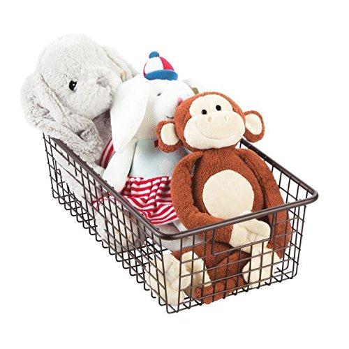 Bronze Baby Shoe (mDesign Baby Nursery Wire Storage Basket with Handles for Nursery, Bedroom - Large, Bronze)