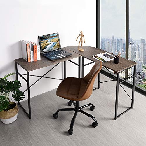 GreenForest L-Shaped Desk Corner Computer Writing Desk Wooden Desktop PC Laptop Gaming Workstation for Home Office 3 Pieces, Brown