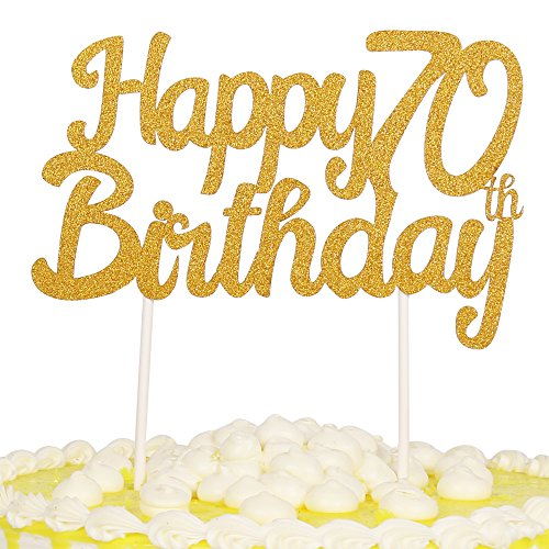 PALASASA Single Sided Glitter Happy Birthday Cake Toppers Decorations Tool Party Supplies (70th Gold) -