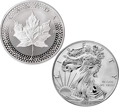 2019 CA Commemorative Set PowerCoin PRIDE OF TWO NATIONS Set 2x1 Ox Silver Coins 5$ 1$ Canada USA 2019 Proof