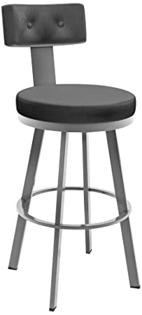 Amisco Tower Swivel Metal Counter Stool with Backrest, 26-Inch, Magnetite Ink