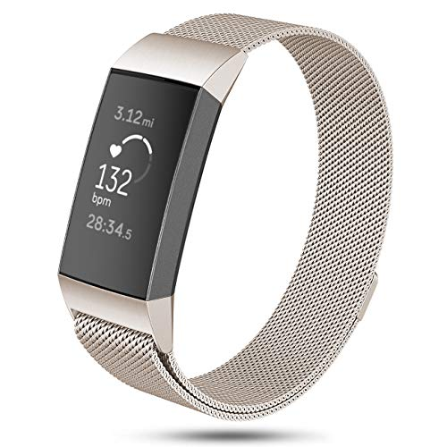 DEKER Milanese Bands Compatible for Fitbit Charge 3 and Charge 3 SE Advanced Fitness Tracker, Stainless Steel Metal Replacement Accessories Strap Wristbands Women Men Small La