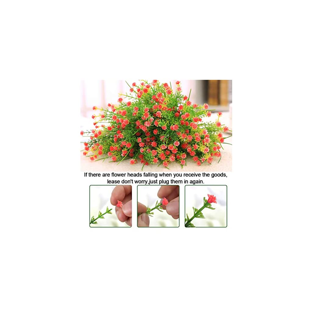 Artificial Flowers – 8 Pack Fake Flowers Outdoor UV Resistant Greenery Shrubs Artificial Plants Fake Flowers Indoor Outside Hanging Planter Home Kitchen Office Wedding Garden Decoration