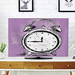 iPrint LCD TV dust Cover Strong Durability,Doodle,Retro Alarm Clock Figure with Grunge Effects Classic Vintage Sleep Graphic,Purple White Black,Picture Print Design Compatible 47 TV