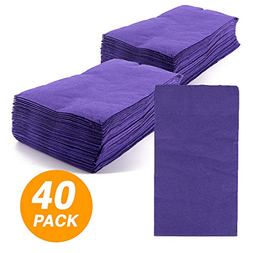 (SparkSettings Big Party Pack Tableware 2 Ply Guest Towels Hand Napkins Paper Soft and Absorbent Decorative Hand Towels for Kitchen and Parties 40 Pieces New Purple)