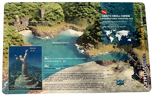 Portofino Media (New Art to Media Underwater Waterproof 3D Dive Site Map - Cristo degli Abissi in Portofino, Italy (8.5 x 5.5 Inches) (21.6 x 15cm))