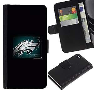 Hawk Grunge - la tarjeta de Crédito Slots PU Funda de cuero Monedero caso cubierta de piel Para Apple Apple iPhone 4 / iPhone 4S