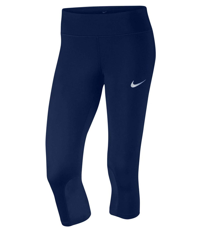 Nike Women's Power Epic Run Cropped Pants Running Tights (Medium, Blue)